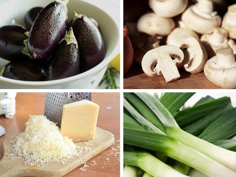 Berenjenas rellenas de champiñones- ingredientes
