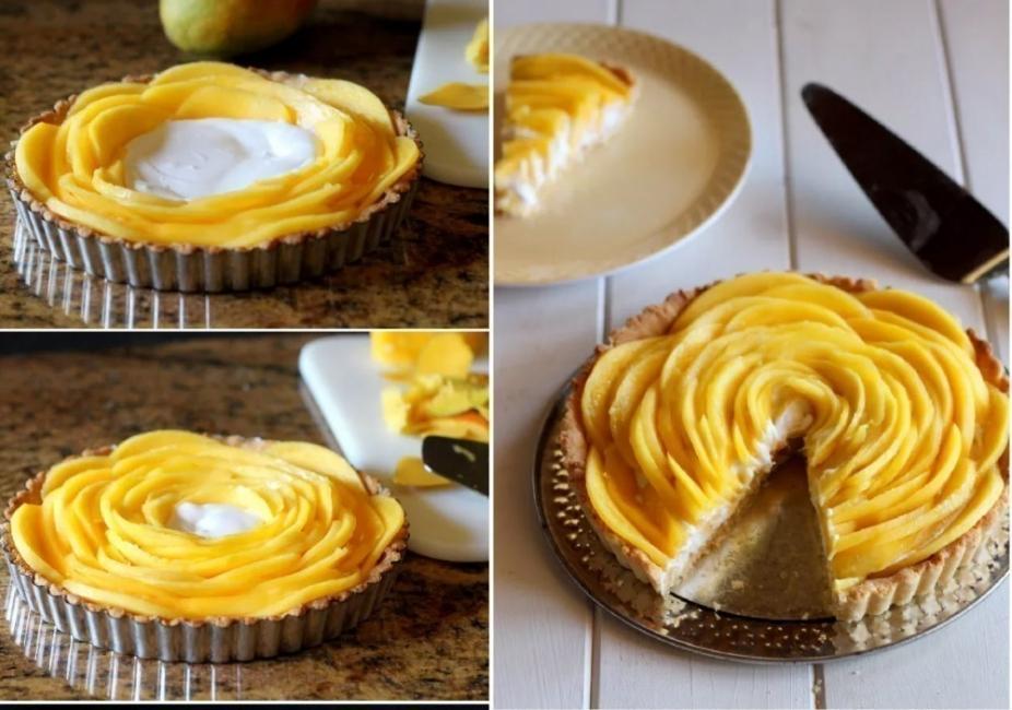 tarta flor de mango y leche de coco terminada- armado