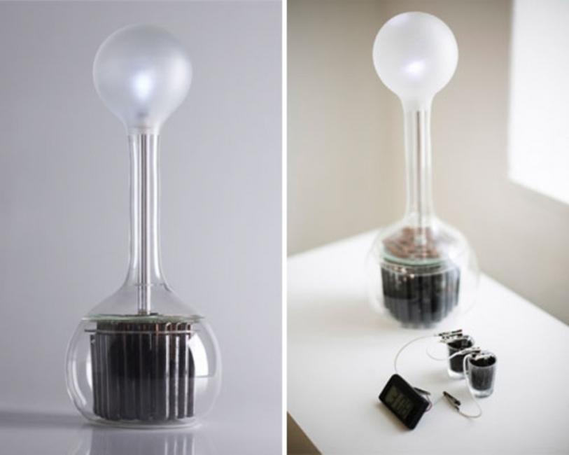 lampara que funciona con tierra y agua