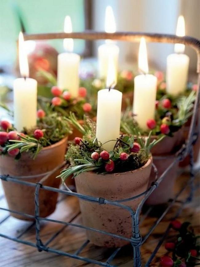 Ideas para decorar tus velas navideñas - velas en macetas
