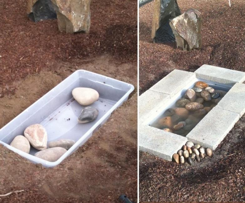 hacer una fuente para tu jardín - colocar las rocas y adoquines
