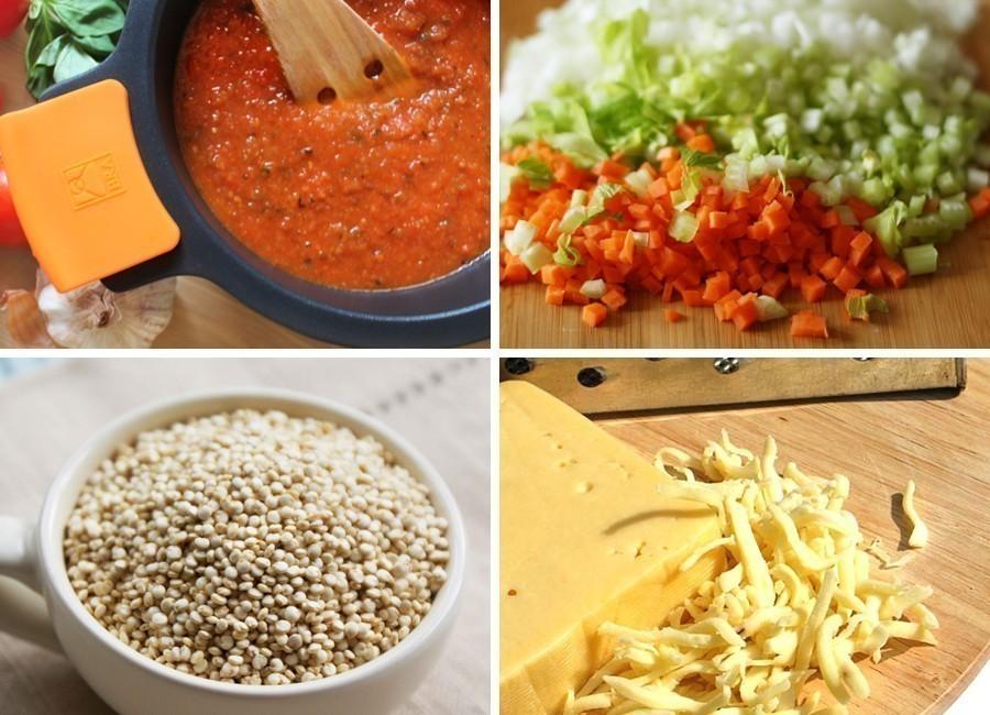 Cazuelas de quinoa, ¡a la pizza! - ingredientes