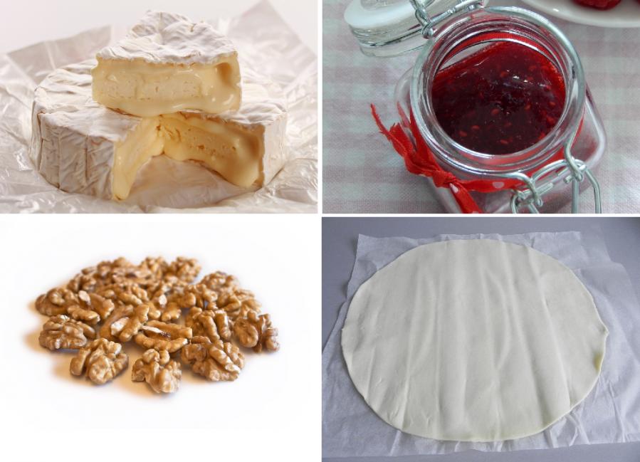pan de hojaldre relleno de camembert - ingredientes nuez mermelada
