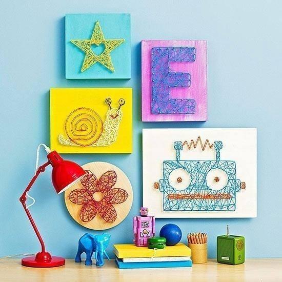 ideas con hilo - cuadro para niños