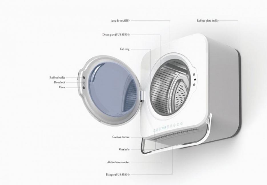 Una ingeniosa lavadora de pared que ahorra espacio y energía- esquema