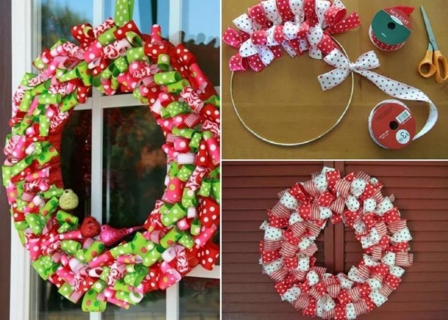Adorno de navidad con cintas