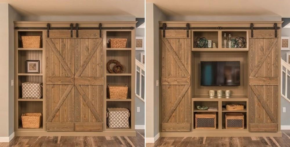 Mueble-estantería multifuncional con puertas corredizas - abierto y cerrado