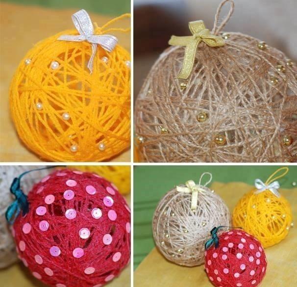 esferas de navidad con hilos