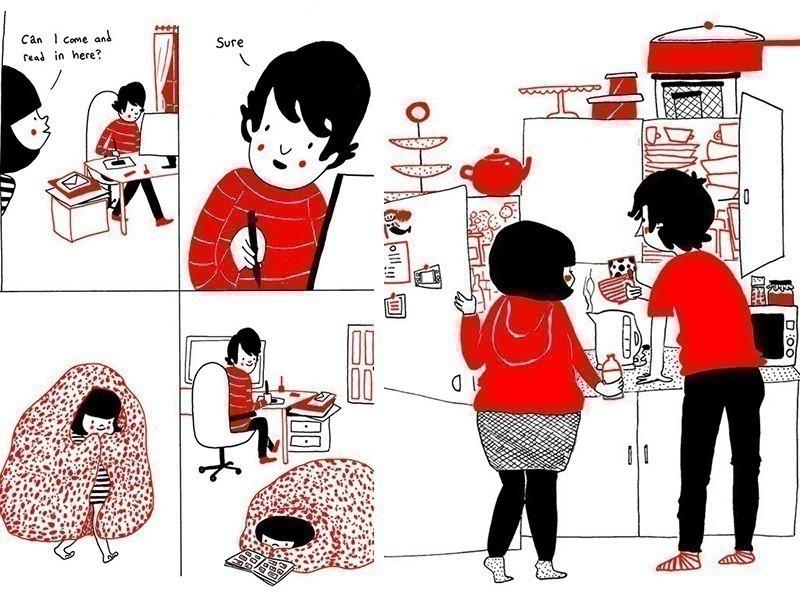 Ilustraciones del amor en las pequeñas cosas- desayuno