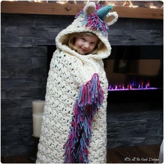 Las mantas con formas de unicornios son ideales para niños