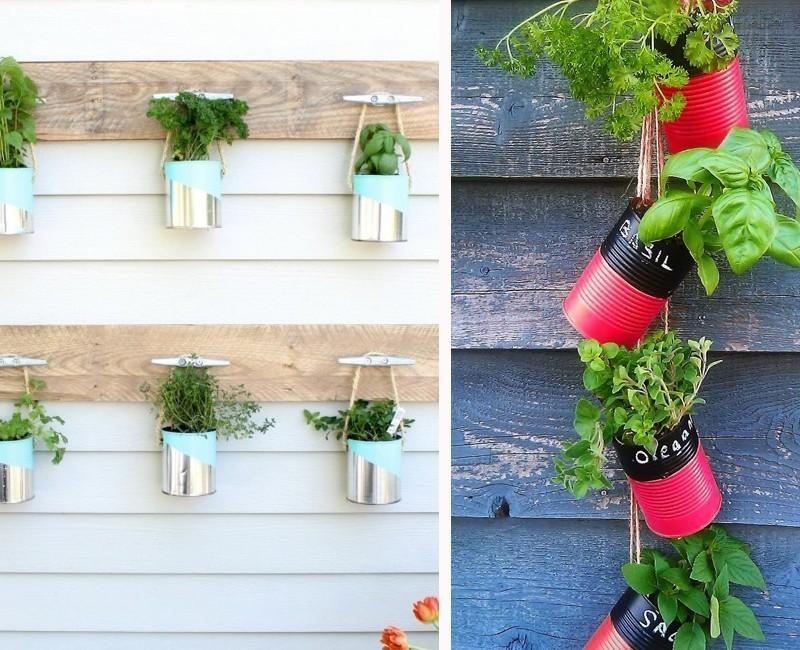 jardin vertical con latas