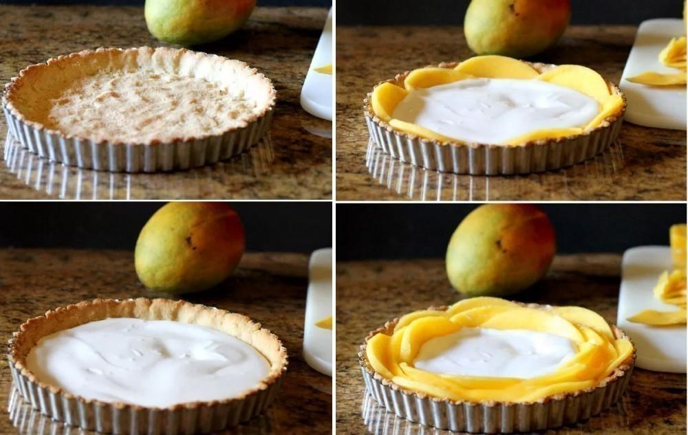tarta flor de mango y leche de coco- preparación
