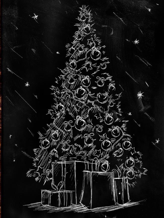 Árboles de Navidad para espacios pequeños - tiza