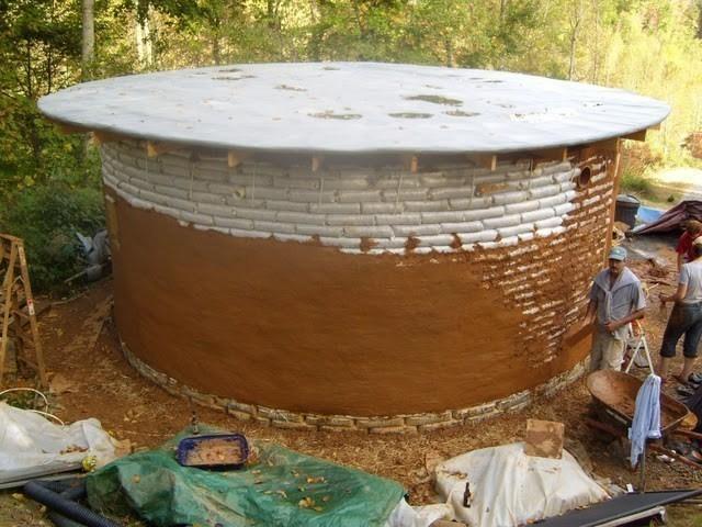 techo  earthbag construir con bolsas de tierra. procedimiento