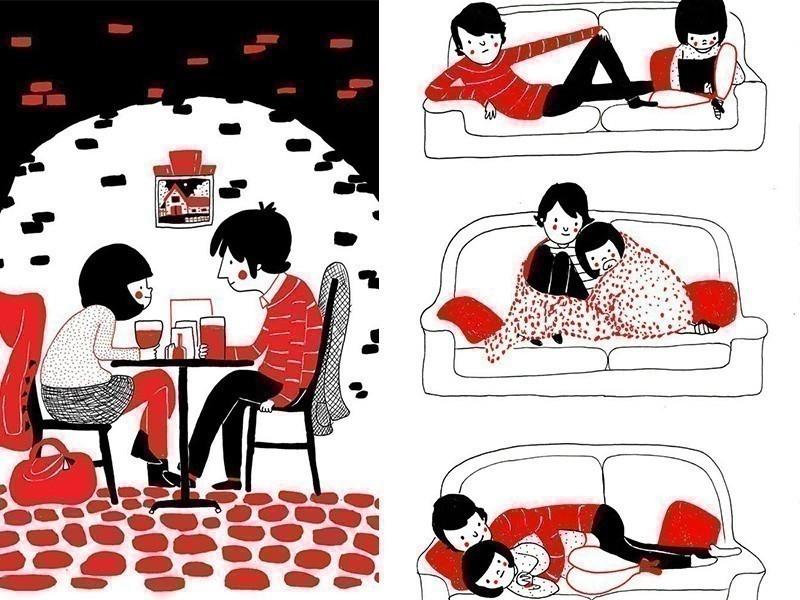 Ilustraciones del amor en las pequeñas cosas