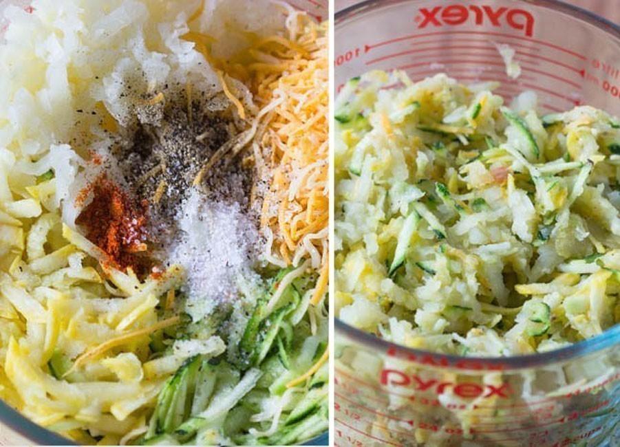Paquetitos crocantes de zucchini, patata y queso- rayar y mezclar